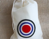 BRAVE bulls eye, CHANGE your FATE, muslin drawstring bag,  birthday party favor (12 individual bags)