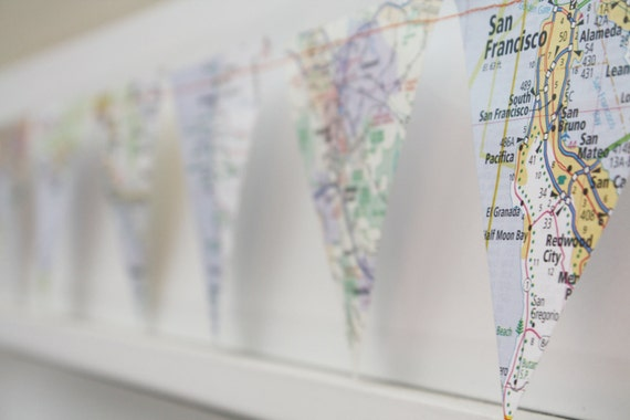 California Dreamin  - paper flag map garland