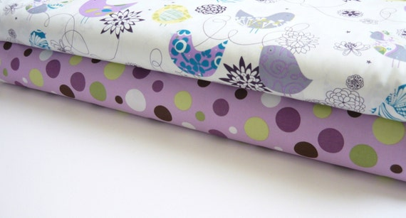 Fabric Duo Alexander Henry Blue Starling and Michael Miller Lavender Lolli Dot 2 yards total