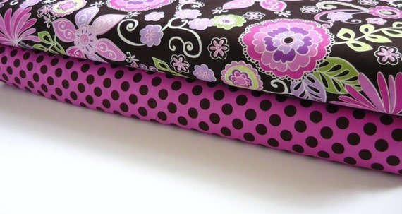 Michael Miller Fabric Duo Orchid Boho Blossom and Orchid Ta Dot 2 yards total