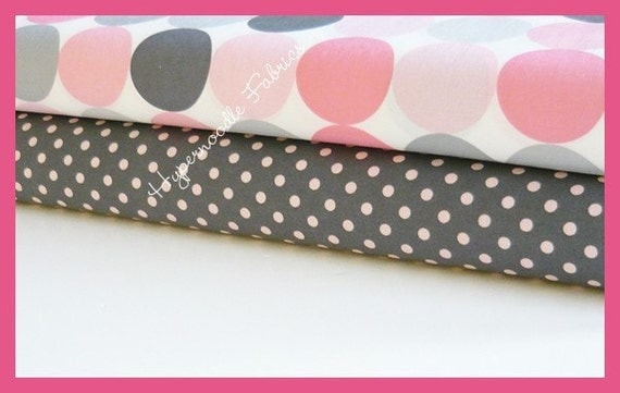 Michael Miller Fabric Duo Blossom Disco Dot and Bloom Dumb Dot 2 yards total