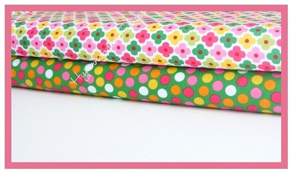 Ann Kelle Fabric Duo Remix Flowers in Garden and Remix Dots in Grass 2 yards