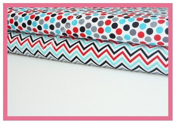 Ann Kelle Fabric Duo Remix Dots and Zig Zag Stripe in Celebration 2 yards