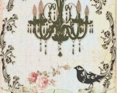Handmade French Shabby Chic Chandelier and Bird Silhouette with Roses PDF Cross-Stitch Pattern
