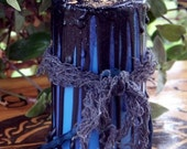 VEIL'S EDGE Soy Pillar Candle w/ 6 Grael Herbs of Spellcasting and Black Jet for Otherworld Pathworking, Divination, Seance or Samhain Rites