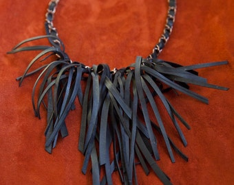 Fringe Bike Tube Bib Vegan Necklace