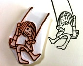 girl with her swing stamp. kokeshi girl hand carved rubber stamp. fairytale birthday card making. diy gift wrapping. summer crafts