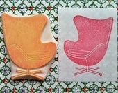 vintage chair stamp. the egg chair hand carved rubber stamp. home decor. mid century design scrapbooking. gift wrapping. block printing