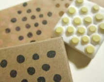 polka dot stamp. geometric pattern stamp. hand carved rubber stamp. scrapbooking. block printing. gift wrapping/gift tag.