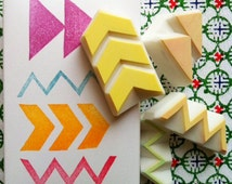 geometric pattern stamps. hand carved rubber stamps. chevron/arrow/zigzag/triangle stamp. scrapbooking/card making/craft projects. set of 4
