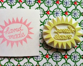 handmade hand carved rubber stamp. handmade packaging label stamp. making cards gift tags. for crafters artists. gift wrapping. no5