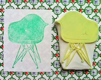 vintage chair stamp. eames chair hand carved rubber stamp. mid century interior design. card making. holiday crafts. father's day gifts