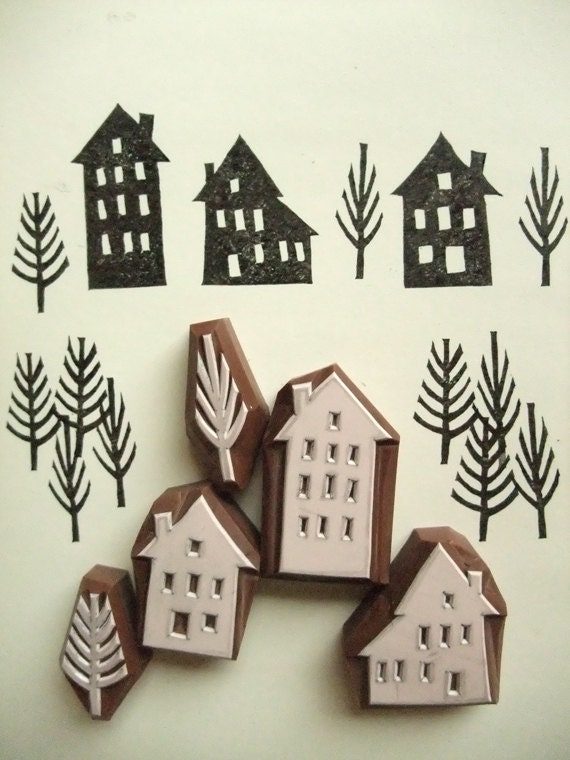WINTER STREET. hand carved rubber stamp. set. 3 houses. 2 trees. any seasons. handmade