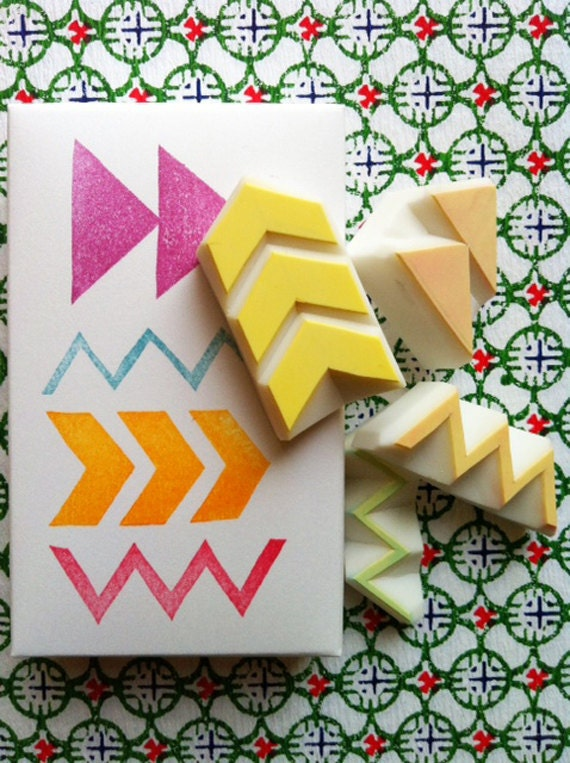 geometric pattern stamps. hand carved rubber stamps. chevron, arrow. zigzag stamp. diy gift wraps. scrapbooking. holiday crafts. set of 4