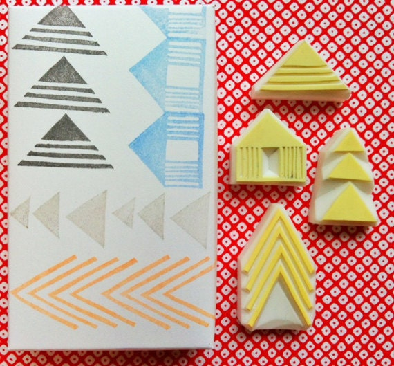 geometric stamp set. arrow pattern hand carved rubber stamp. birthday scrapbooking. gift wrapping. set of 4. handmade stamps by talktothesun