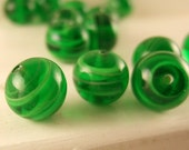Vintage Destash - VENETIAN LAMPWORK BEADS - SWIRLING ON THE GREEN - 4 pieces