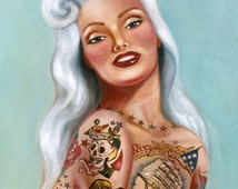 Sailors Grave vintage style mermaid pin up traditional tattoo poster print hawaiian - 11x 17  signed