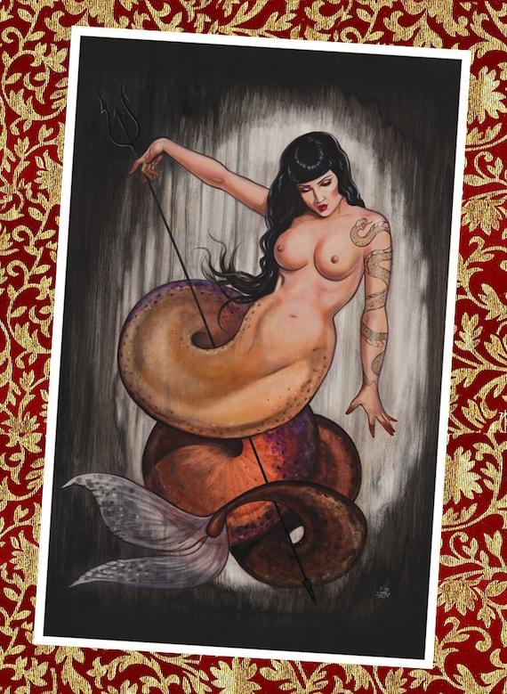 Watersnake  - 11x 17 mermaid art signed
