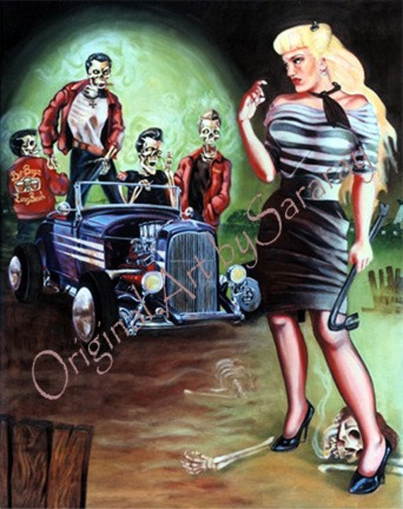 Sara Ray Art Low Brow Rockabilly Pin Up Zombies Poster Oil