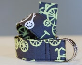 Gray and Yellow Bikes Cotton Fabric Belt