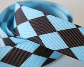 """Blue and Chocolate Jester 7/8"""" Grosgrain Ribbon - 1 Yard"""