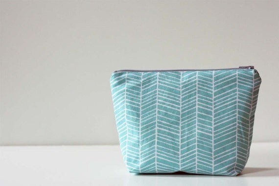 Zipper Pouch Cosmetic Bag - Turquoise Herringbone - Ready to Ship