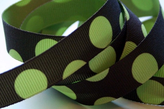 Reserved for Helen -- Big Green Dots on Chocolate 5/8 inch Grosgrain Ribbon - 6 Yards