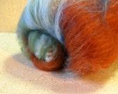SALE Copper - 2oz Fiber Batt with Beads, Spinning Fiber, Wool, Fiber for Spinning and Felting, Handmade Fiber Batt, Art Batt, Steam Punk