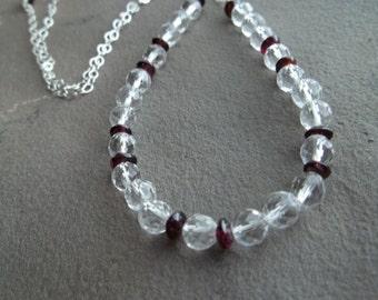 Crystal Quartz and Garnet Necklace