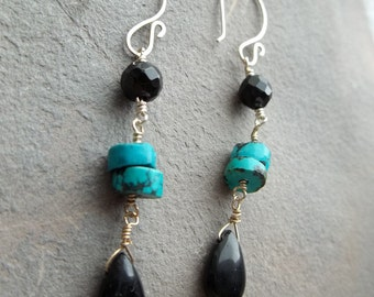 Black Onyx, Turquoise and Sterling Silver Earrings