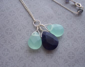 Chalcedony and Lapis Sterling Silver Necklace