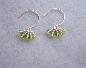 Sterling Silver and Peridot Cluster Earrings