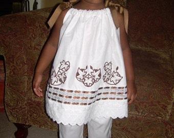 Girls Pillowcase Dress Capri Pants Set White Beach Heirloom Brown Emroidery Design Sizes 12m, 18m, 24m, 2t, 3t, 4t, 5, 6, 7, 8, 10, 12