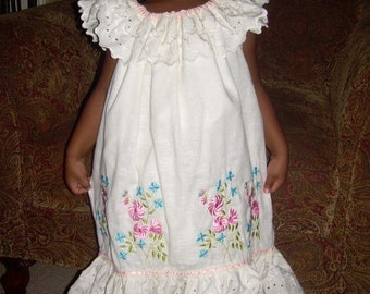 Custom Flower Girls Ivory Peasant Pillowcase Sun Dress Heirloom Wedding Collar Ruffles Size 12mo 18mo 24mo 2t 3t 4t 4 6 7 8 10 12 14