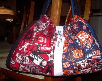 Custom Women's Alabama Auburn Bag Purse Totes Monogram Monogrammed Personalize Personalized Rivalry Teams Divided House Clemson LSU Tigers