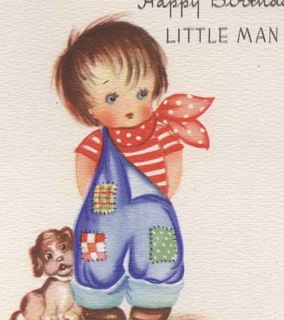 Happy Birthday LITTLE MAN Vintage Greeting Card Meryle Old