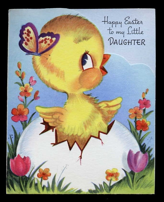 Vintage EASTER DAUGHTER Greeting Card Baby CHICK Old Stock Unused Colorful Adorable
