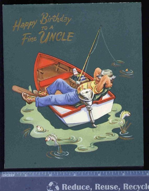 Superb Items Similar To Vintage Fishing Boat Birthday Greeting Funny Birthday Cards Online Benoljebrpdamsfinfo