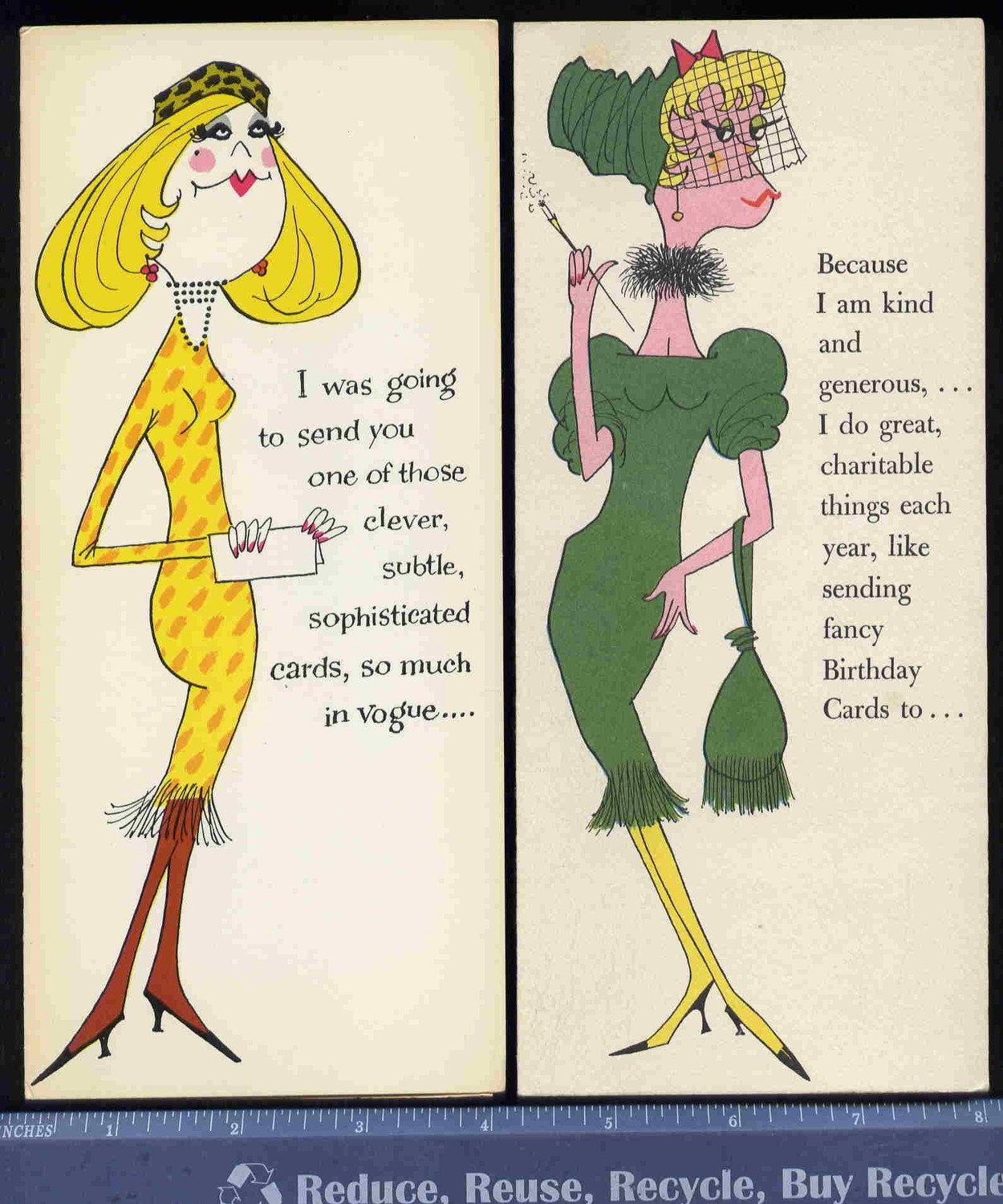 2 Vintage rEtrO VOGUE WOMEN funny gReeTinG by vintagerecycling