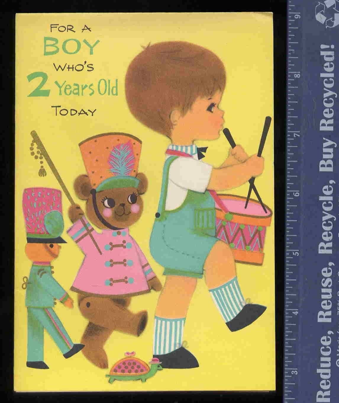 Vintage 2 Year Old Boy BIRTHDAY Greeting CARD By