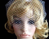 Swarovski Crystal accent  birdcage. White or ivory you choose. Pick of nose White Bridal Weding Rusian Net Birdcage Veil