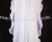 Elegant Chiffon Wedding bridal veil. White or Ivory , your choice. elbow lenght with silver comb ready to wear