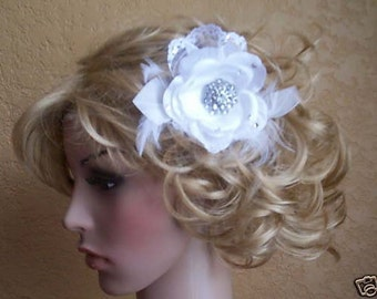 White or ivory Bridal  Wedding Lace Rose with crystals and feathers  fascinator.