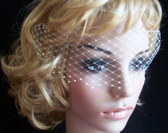 Ivory  Venetian Style  Face Veil With 3 Row Swarovski Crystals Russian veiling net