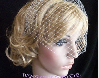 ivory or white Rusian Veiling Blusher Wedding Veil with Comb Ready to Wear