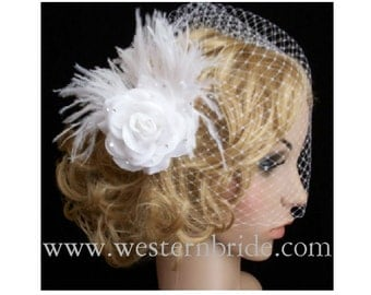 WHITE birdcage made with russian net  wedding veil with ROSE and ostrich feathers fascinator