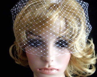 CRYSTAL  ACCENT Pick of nose ivory Bridal Weding Rusian Net Birdcage Veil