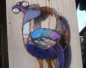 Stained Glass Suncatcher...Iridized Celtic Peacock