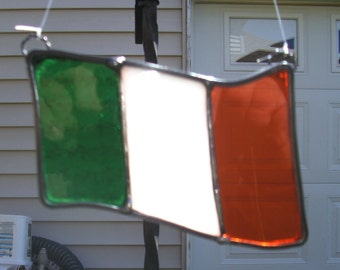 Stained Glass Flag Suncatcher...Irish Flag or Italian Flag...Ready To Ship