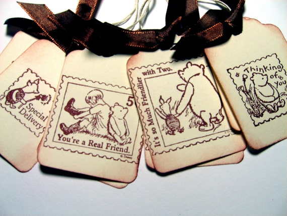 Winnie the Pooh Stamp Gift Tags